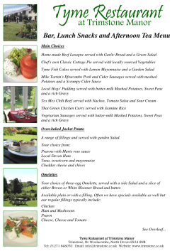 Tyme Restaurant at Trimstone Manor  Bar, Lunch Snacks and Afternoon Tea Menu