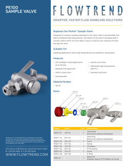 PE100 SAMPLE VALVE Replaces the Perlick® Sample Valve