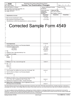 4549 Income Tax Examination Changes Form (Rev. March 2005)