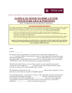 SAMPLE OF OFFER-TO-HIRE LETTER NONTENURE-TRACK POSITIONS
