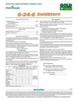 6-24-6 GoldStart Nutra-Flo Liquid Fertilizer Product Label