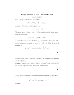 Sample Solutions to Quiz 3 for MATH3270A − y