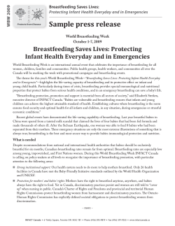 Sample press release Breastfeeding Saves Lives: Protecting Breastfeeding Saves Lives: