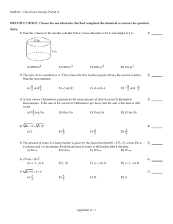 Math 96 - Final Exam Sample Packet A MULTIPLE Solve.