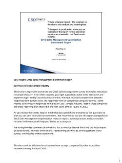 CSO Insights 2013 Sales Management Benchmark Report  Surveys Selected: Sample Industry