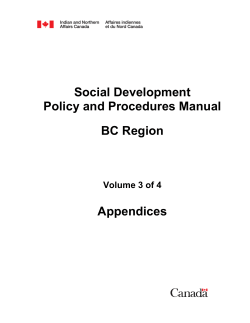 Social Development Policy and Procedures Manual BC Region