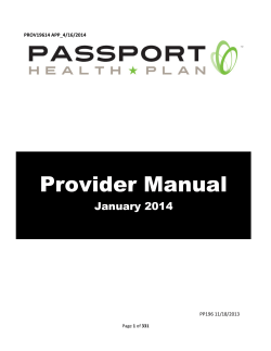 Provider Manual  January 2014 PROV19614 APP_4/16/2014