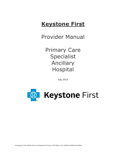 Keystone First  Provider Manual Primary Care