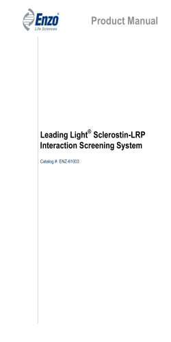 Product Manual Leading Light Sclerostin-LRP