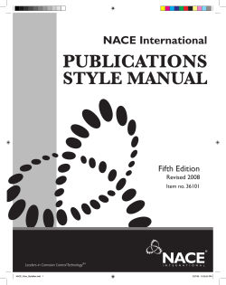 PUBLICATIONS STYLE MANUAL NACE International Fifth Edition