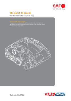 Deposit Manual for Knorr brake calipers only