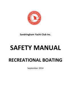 SAFETY MANUAL RECREATIONAL BOATING Sandringham Yacht Club Inc.