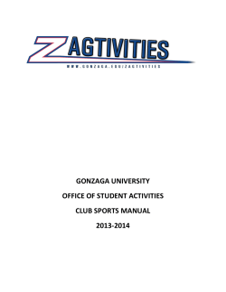 GONZAGA UNIVERSITY OFFICE OF STUDENT ACTIVITIES CLUB SPORTS MANUAL