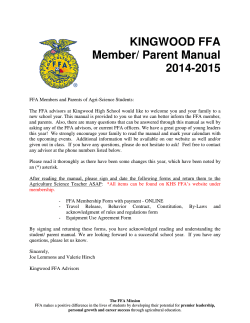 KINGWOOD FFA Member/ Parent Manual 2014-2015