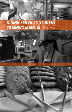 DINING SERVICES STUDENT TRAINING MANUAL 2013-2014