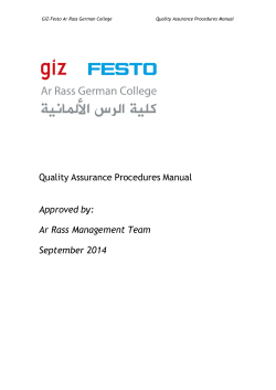 Quality Assurance Procedures Manual Approved by: Ar Rass Management Team September 2014