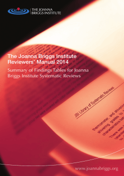 The Joanna Briggs Institute Reviewers' Manual 2014 Briggs Institute Systematic Reviews