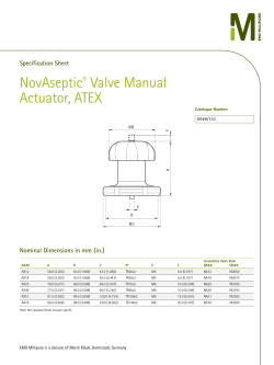 NovAseptic Valve Manual Actuator, ATEX ®