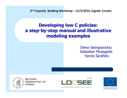 Developing low C policies: a step-by-step manual and illustrative modeling examples Elena Georgopoulou