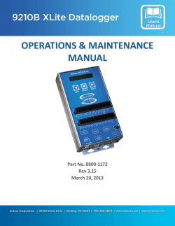 OPERATIONS & MAINTENANCE MANUAL 9210B XLite Datalogger Part No. 8800-1172