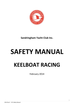 SAFETY MANUAL KEELBOAT RACING Sandringham Yacht Club Inc.