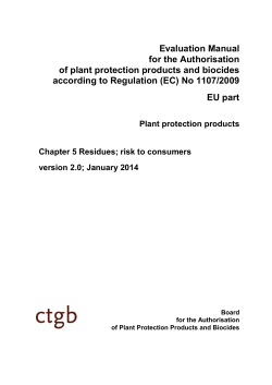 Evaluation Manual for the Authorisation of plant protection products and biocides