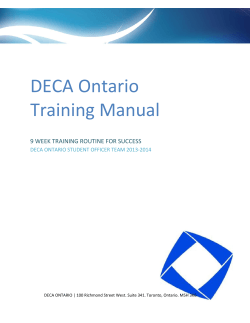 DECA Ontario Training Manual  9 WEEK TRAINING ROUTINE FOR SUCCESS