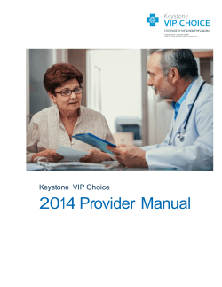 2014 Provider Manual  Keystone  VIP Choice