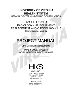 PROJECT MANUAL UNIVERSITY OF VIRGINIA HEALTH SYSTEM UVA UH LEVEL 1