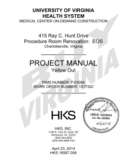 PROJECT MANUAL UNIVERSITY OF VIRGINIA HEALTH SYSTEM 415 Ray C. Hunt Drive