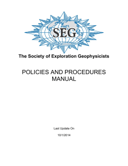 POLICIES AND PROCEDURES MANUAL The Society of Exploration Geophysicists