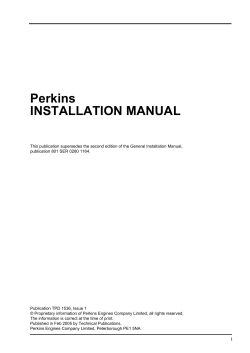 Perkins INSTALLATION MANUAL
