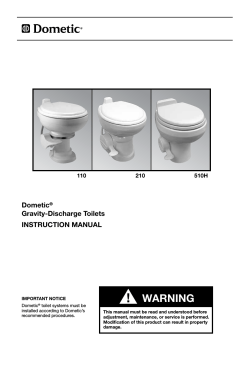 WARNING Dometic Gravity-Discharge Toilets