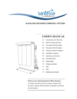 USER'S MANUAL ALKALINE REVERSE OSMOSIS  SYSTEM