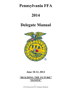 Pennsylvania FFA  2014 Delegate Manual