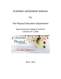 ACADEMIC ADVISEMENT MANUAL For The Physical Education Department
