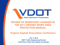 REVIEW OF SIGNIFICENT CHANGES IN THE 2011 VIRGINIA WORK AREA PROTECTION MANUAL