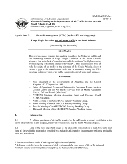 International Civil Aviation Organization  SAT/19-WP/16-Rev. (Buenos Aires, Argentina, 04-08 Aug 2014)