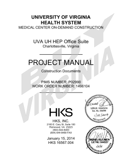 PROJECT MANUAL UNIVERSITY OF VIRGINIA HEALTH SYSTEM UVA UH HEP Office Suite