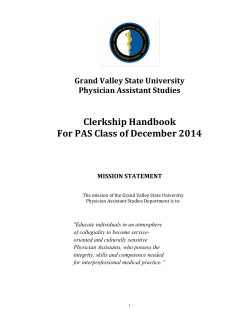 Clerkship Handbook For PAS Class of December 2014  Grand Valley State University