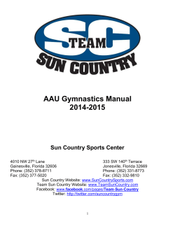 AAU Gymnastics Manual 2014-2015  Sun Country Sports Center