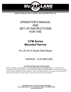 OPERATOR'S MANUAL AND SET-UP INSTRUCTIONS