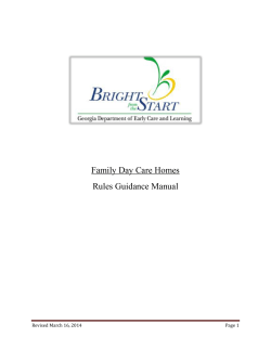 Family Day Care Homes Rules Guidance Manual  Revised March 16, 2014