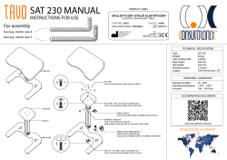 SAT 230 MANUAL INSTRUCTIONS FOR USE For assembly hex key, metric size 4