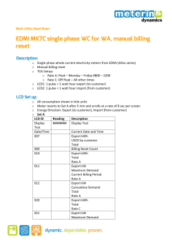 EDMI MK7C single phase WC for WA, manual billing reset Description: