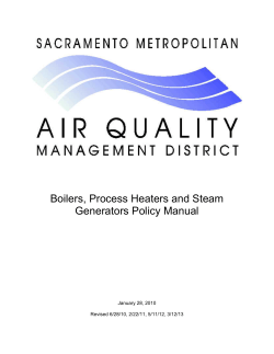 Boilers, Process Heaters and Steam Generators Policy Manual January 28, 2010