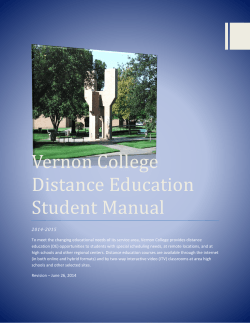 Vernon College Distance Education Student Manual