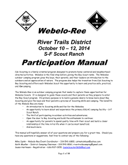 Webelo-Ree Participation Manual River Trails District – 12, 2014