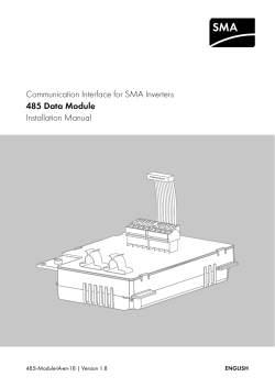 Communication Interface for SMA Inverters Installation Manual 485 Data Module