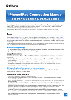 iPhone/iPad Connection Manual For DTX400 Series & DTX502 Series